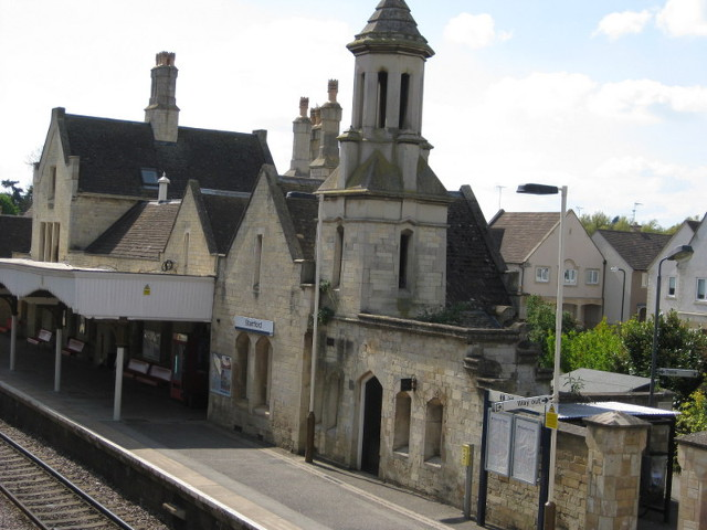 Stamford Station - The station building is a fine stone structure in Mock Tudor style, designed by Sancton Wood